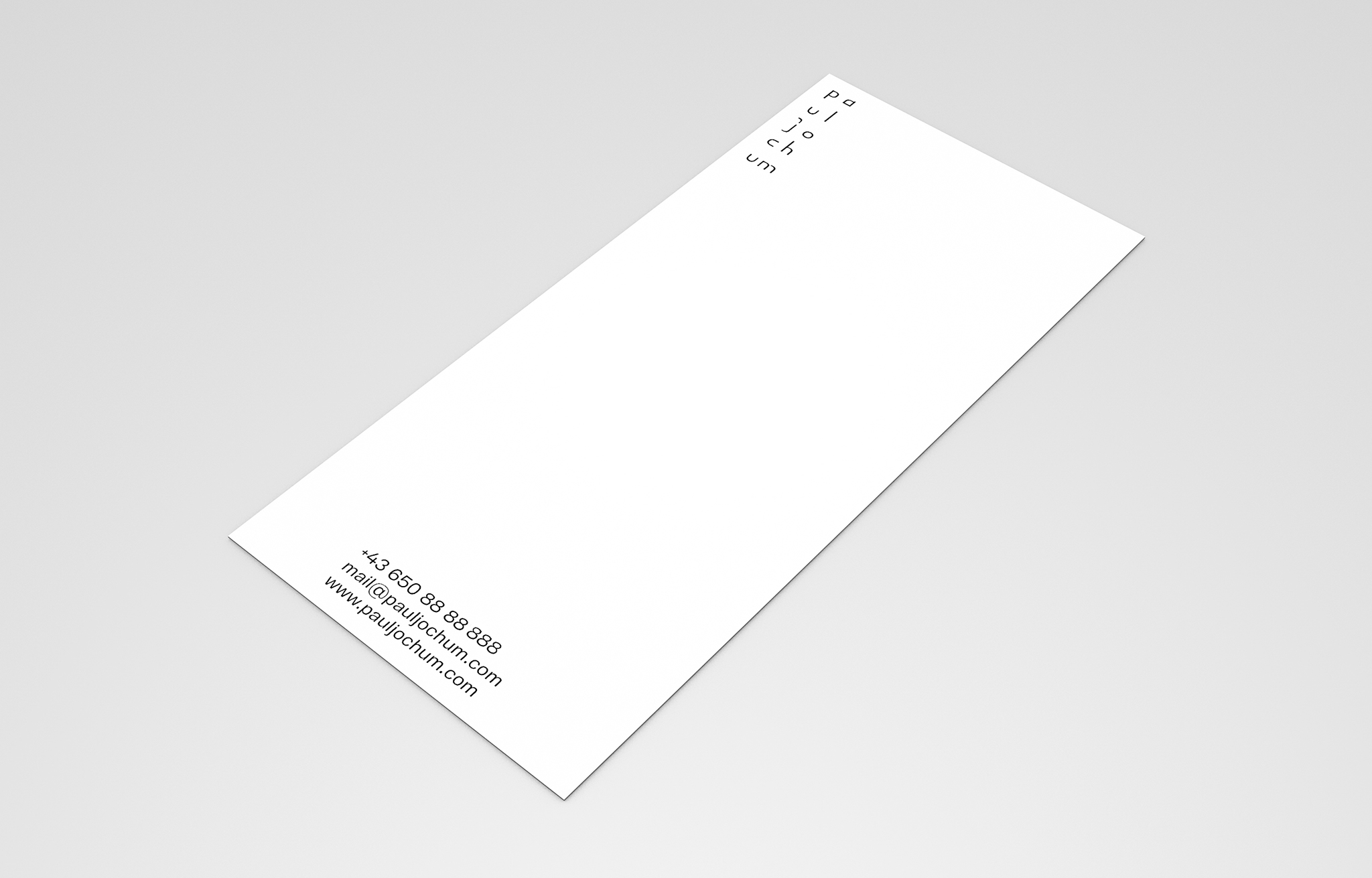 Corporate Identity for Paul Jochum. Compliment Card.