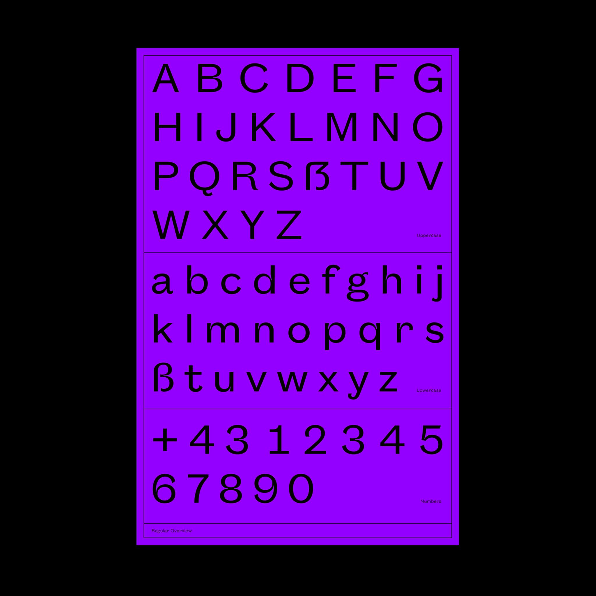 Melange Typeface Glyphs Overview.