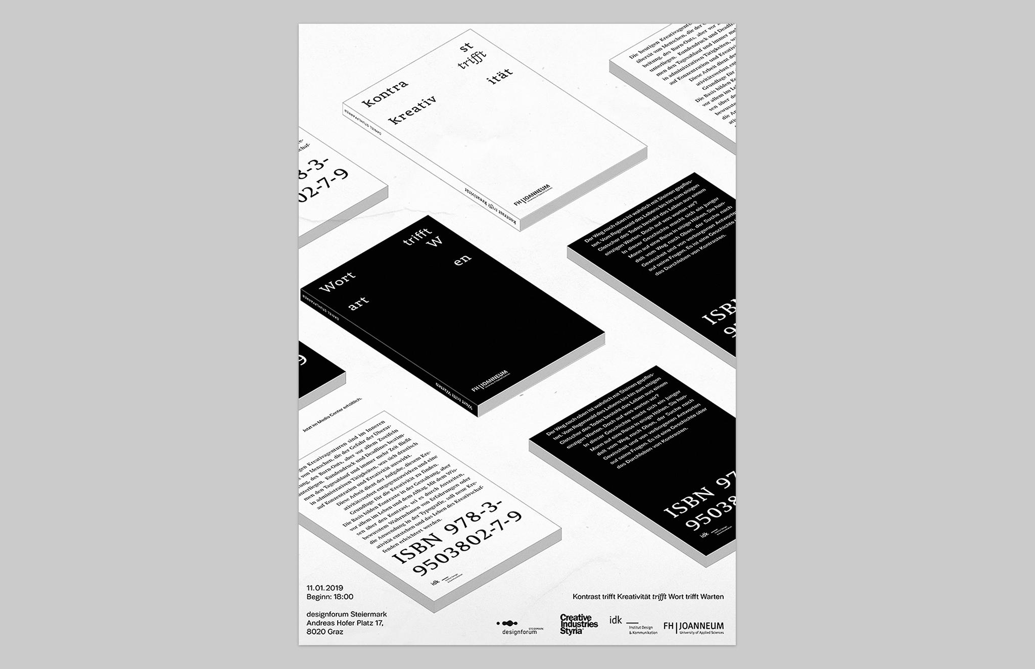 Daniel-Stuhlpfarrer_Visual-Communication_Graphic-Design_Poster_Kontrast-trifft-Kreativitaet-Wort-trifft-Warten-Bookpresentation_Overview-1