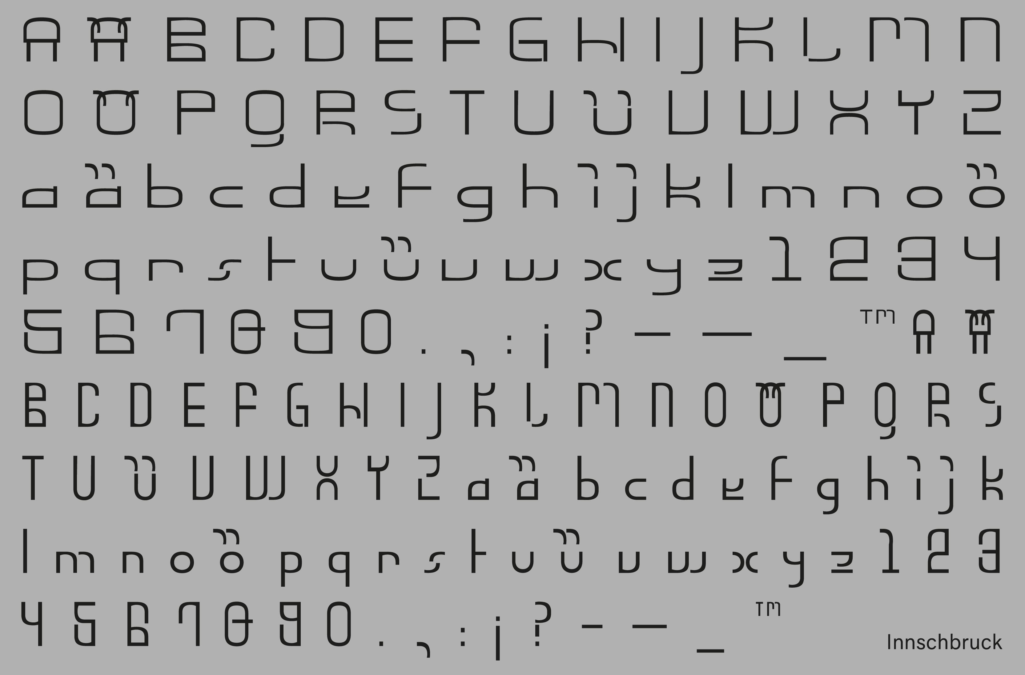 Innschbruck Variable Font Glyphs