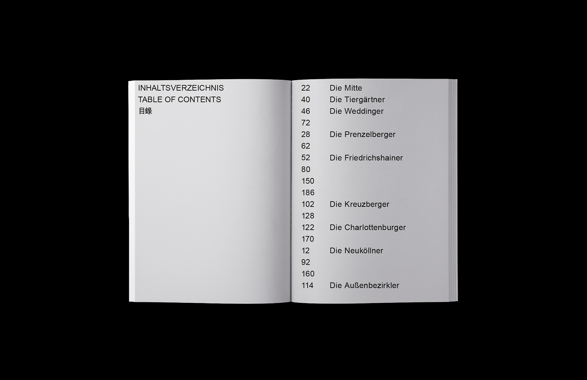 Notes of Berlin Book Table of Contents