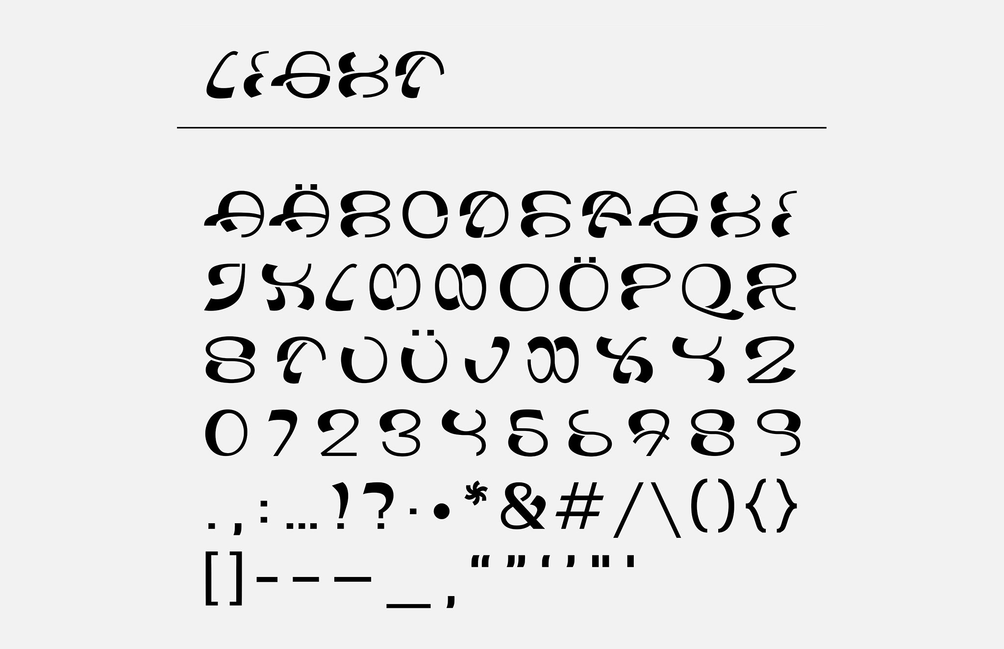 Wabla Typeface Light Glyphs