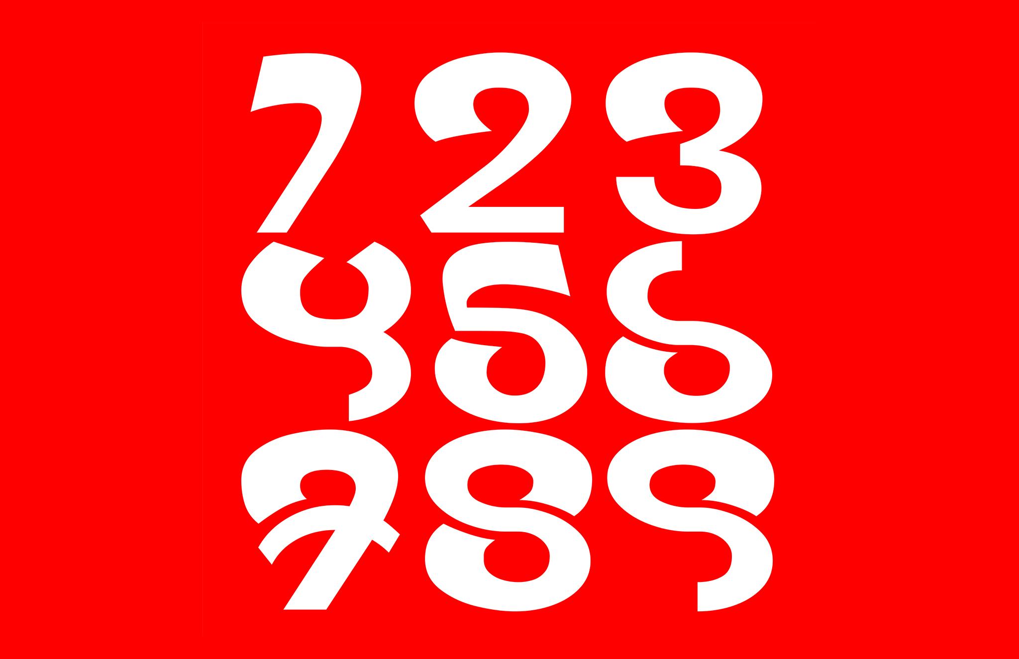 Wabla Typeface Numbers