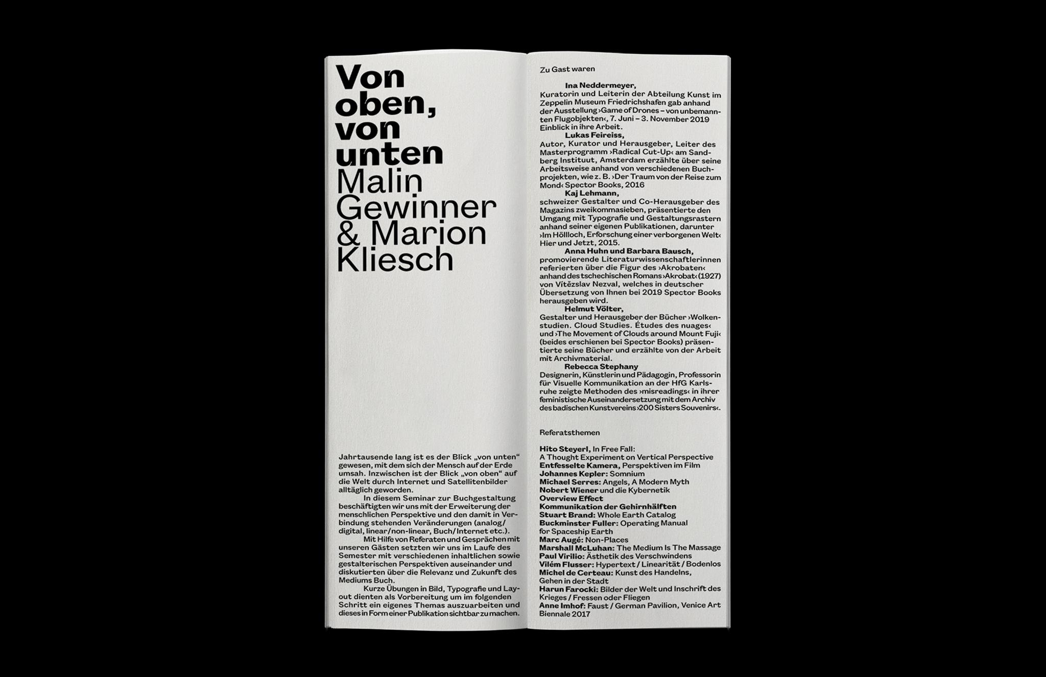 Rundgang Folder UdK Berlin Summersemester 2019
