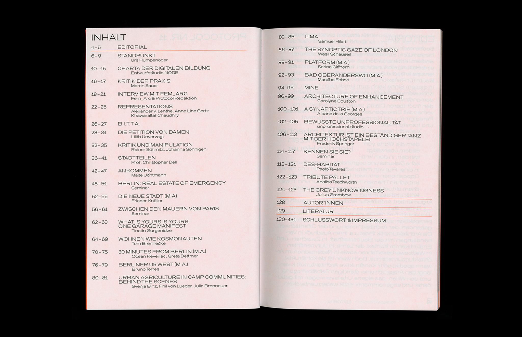 Protocol Nr.11 – Magazin für Architektur im Kontext Table of Contents