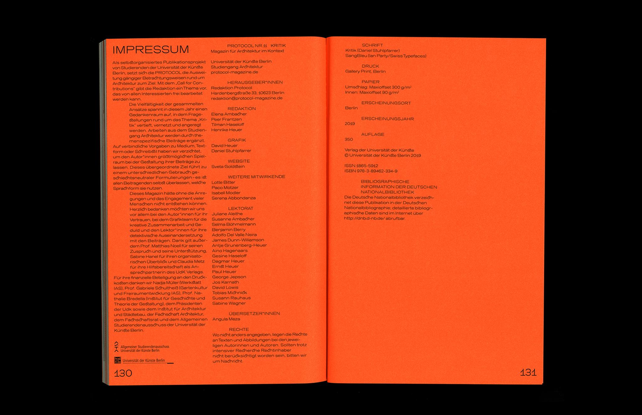 Protocol Nr.11 – Magazin für Architektur im Kontext Imprint