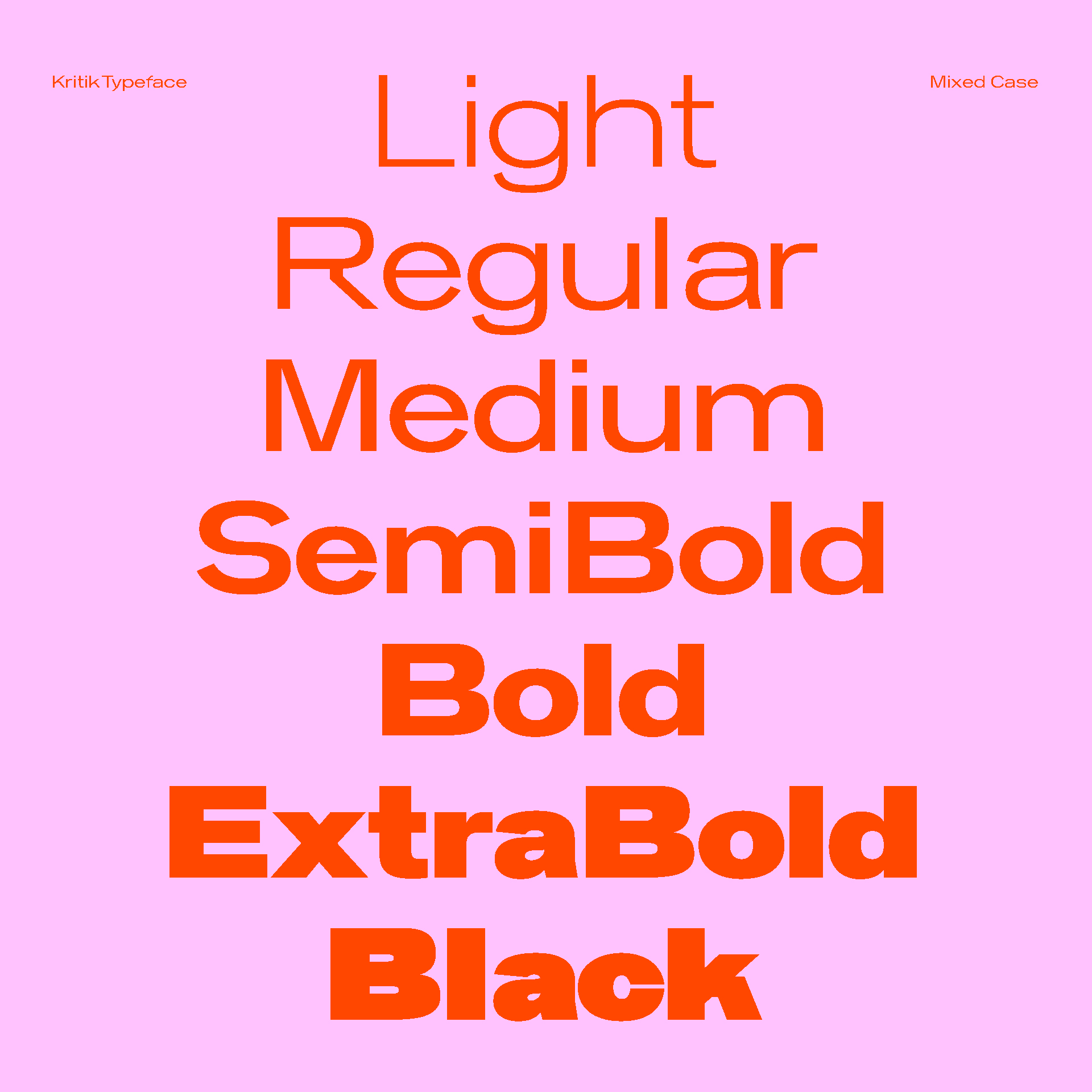 Kritik Typeface Weights