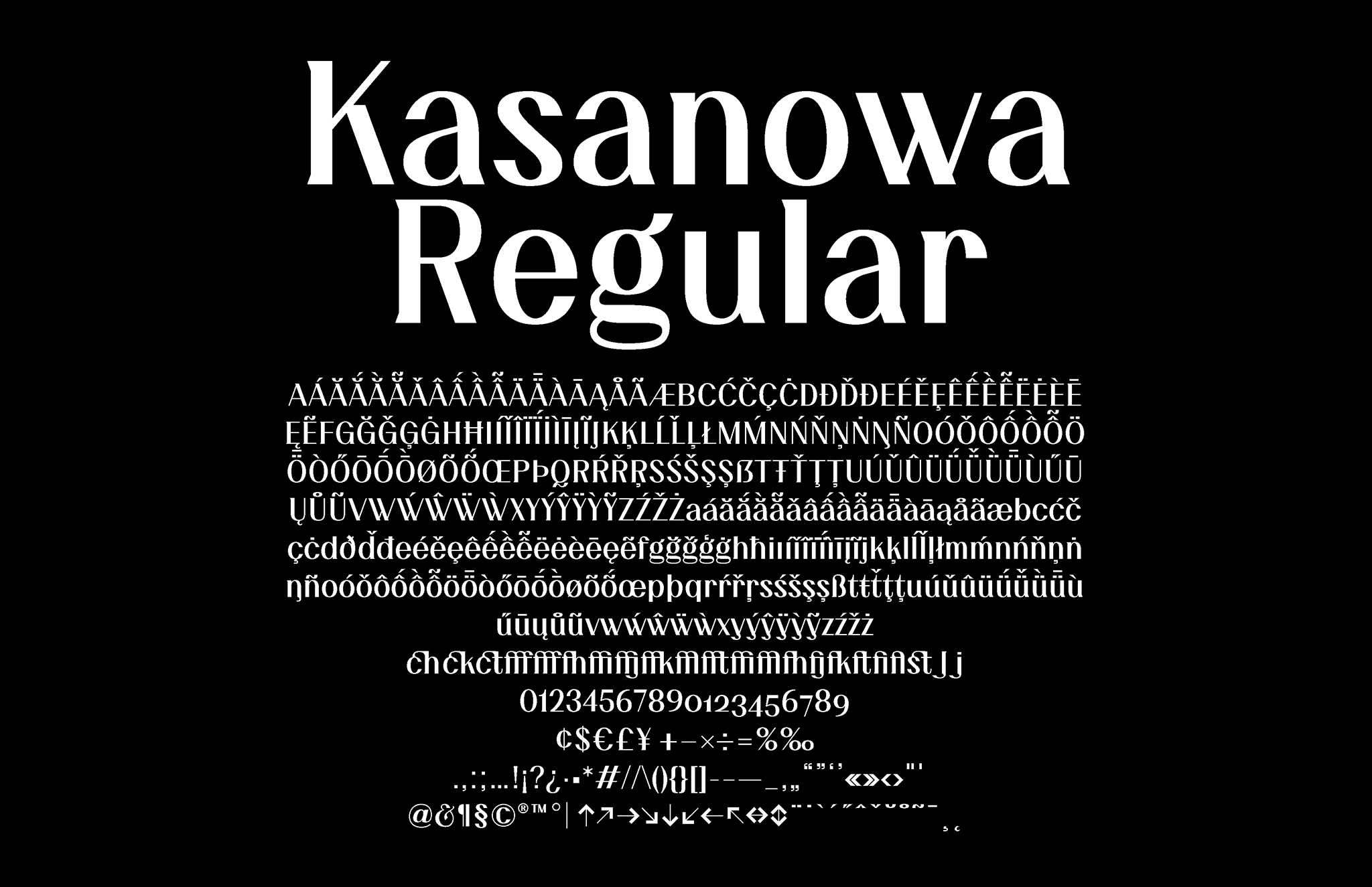 Kasanowa Regular Glyph Overview